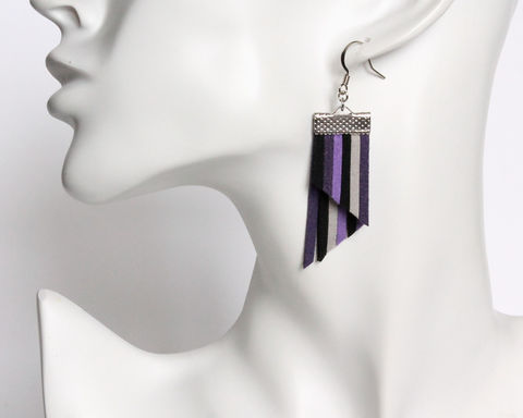 Color Stripes Earrings - Purple Black Gray Stripes - product images  of