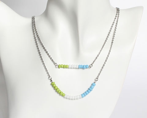 Apple,Green,White,Sky,Blue,Double,Layer,Mini,Beads,Stainless,Steel,Necklace,apple green white sky blue necklace, green white blue necklace, beaded necklace, sky blue green white necklace, mint white blue necklace, double layer necklace, 2 strand necklace, orange brown beaded necklace, mini beads necklace, stainless steel small be