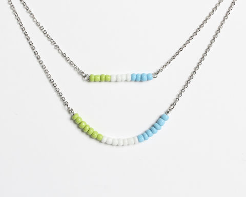 Apple Green White Sky Blue Double Layer Mini Beads Stainless Steel Necklace - product images  of
