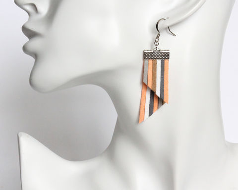 Color Stripes Earrings - Peach Gray White Stripes - product images  of