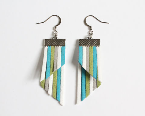Color,Stripes,Earrings,-,Aqua,White,Green,color stripes earrings, color strips earrings, colorful earrings, color leather earrings, aqua white green stripes earrings, blue white green stripes, blue stripes earrings, cerulean blue earrings, blue white stripes earrings