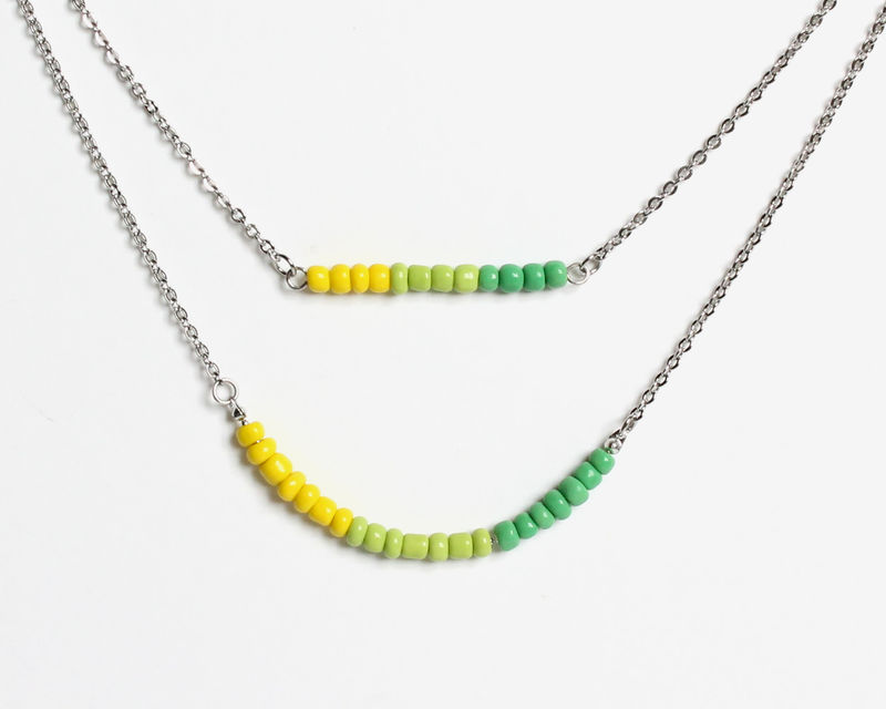 Yellow Green Gradient Double Layer Mini Beads Stainless Steel Necklace - product images  of