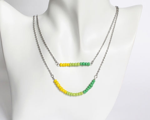 Yellow,Green,Gradient,Double,Layer,Mini,Beads,Stainless,Steel,Necklace,yellow green gradient necklace, yellow green beaded necklace, green beaded necklace, dainty beaded necklace, double layer necklace, 2 strand necklace, mini beads necklace, stainless steel small beads necklace