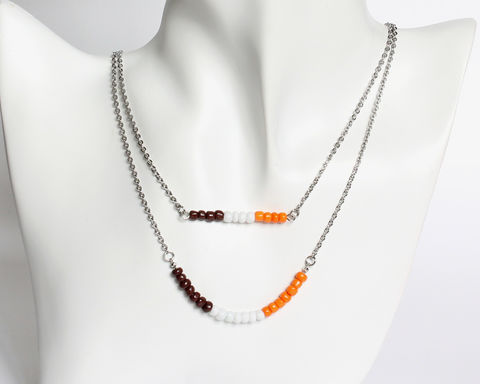 Brown,White,Orange,Double,Layer,Mini,Beads,Stainless,Steel,Necklace,brown white orange necklace, orange brown beaded necklace, orange white beaded necklace, dainty beaded necklace, double layer necklace, 2 strand necklace, mini beads necklace, stainless steel small beads necklace