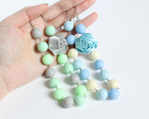 Large Beaded Necklace with Ribbon Rose (Blue or Green) - product images  of