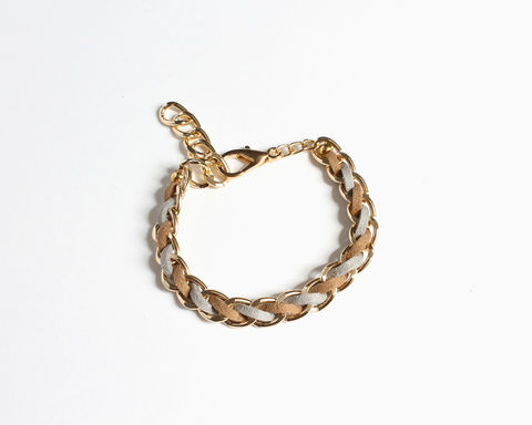 Pastel Color Faux Suede Gold Chain Bracelet (3 colors available) - product images  of