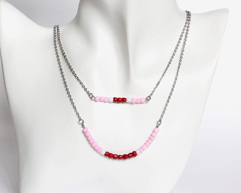 Pink Maroon Red Double Layer Mini Beads Stainless Steel Necklace - product images  of