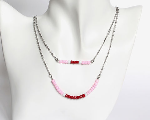Pink,Maroon,Red,Double,Layer,Mini,Beads,Stainless,Steel,Necklace,pink maroon red necklace, pink red beaded necklace, dark red pink beaded necklace, dainty beaded necklace, double layer necklace, 2 strand necklace, mini beads necklace, stainless steel small beads necklace