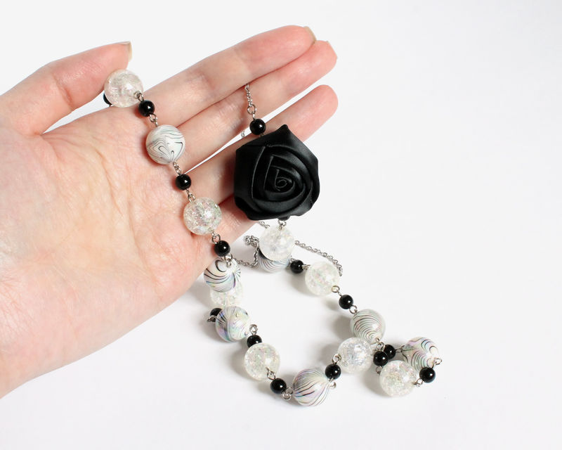 Black and White Beaded Long Necklace with Ribbon Rose - product images  of