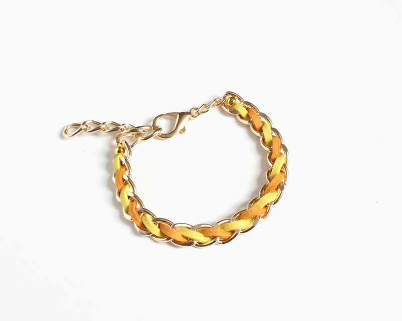 Bright Color Faux Suede Gold Chain Bracelet (3 colors available) - product images  of
