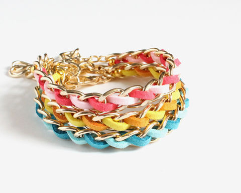 Bright,Color,Faux,Suede,Gold,Chain,Bracelet,(3,colors,available),bright color bracelet, faux suede chain bracelet, chain and leather bracelet, color leather bracelet, gold chain leather bracelet, blue gold bracelet, pink gold bracelet, yellow orange bracelet