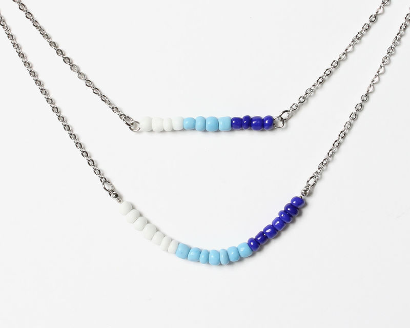 White Blue Double Layer Mini Beads Stainless Steel Necklace - product images  of