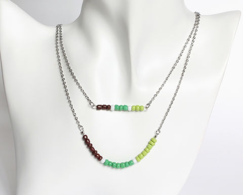Brown Green Double Layer Mini Beads Stainless Steel Necklace - product images  of