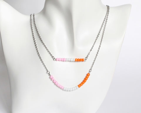 Pink,White,Orange,Double,Layer,Mini,Beads,Stainless,Steel,Necklace,handmade beaded necklace, handmade dainty necklace, mini pink white orange beaded necklace, orange white pink small beads necklace, dainty beaded necklace, pink white orange necklace, double layer necklace, daintly necklace, mini beads necklace, stainless