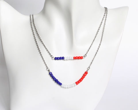 Blue,White,Red,Double,Layer,Mini,Beads,Stainless,Steel,Necklace,handmade beaded necklace, handmade dainty necklace, mini blue white red beaded necklace, france color necklace, dainty beaded necklace, franch color necklace, double layer necklace, daintly necklace, stainless steel necklace