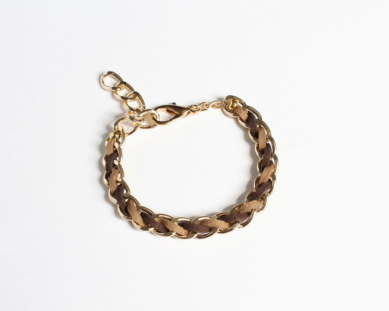Dark Brown and Pastel Faux Suede Gold Chain Bracelet - product images  of