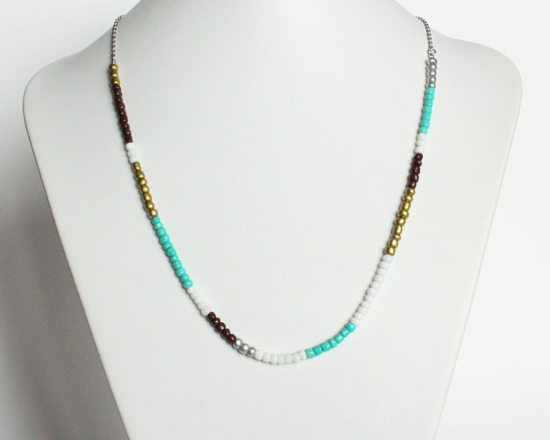 Colorful Small Beads Stainless Steel Necklace in Turquoise Brown White Gold Silver - product images  of