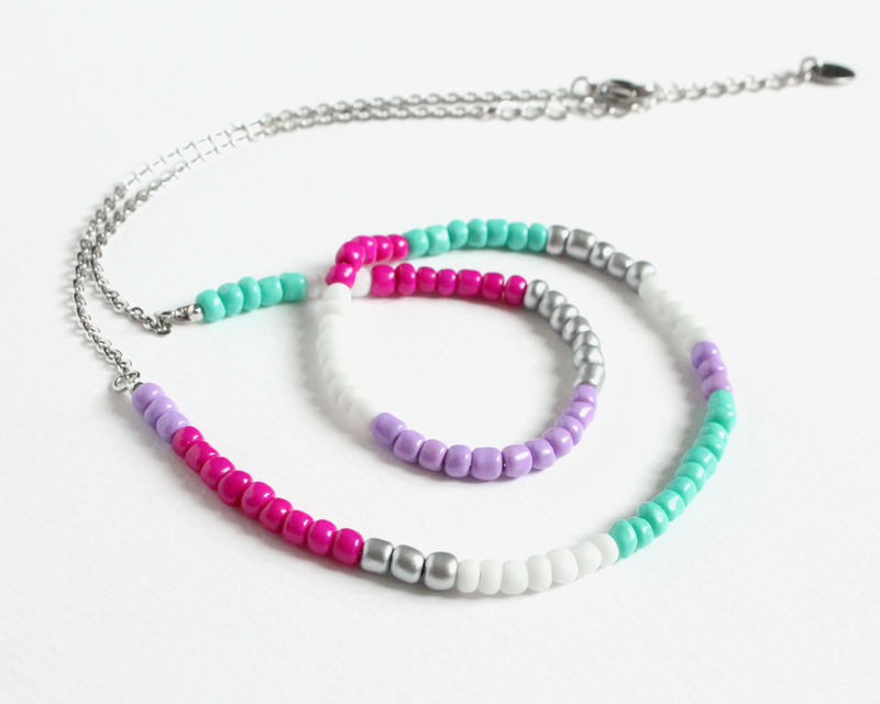 Colorful Small Beads Stainless Steel Necklace in Magenta Lavender Turquoise White Silver - product images  of