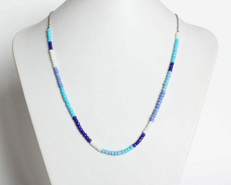 Colorful Small Beads Stainless Steel Necklace in Blue and White - product images  of