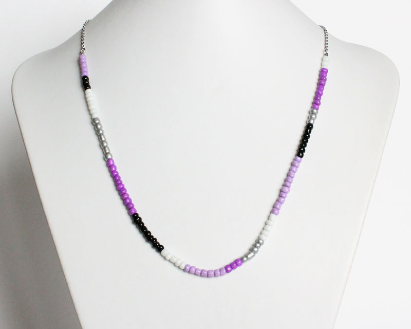 Colorful Small Beads Stainless Steel Necklace in Purple Lavender White Silver Black - product images  of
