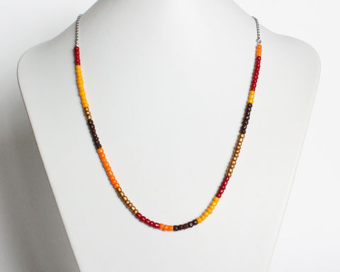 Colorful Small Beads Stainless Steel Necklace in Red Orange Bronze Brown - product images  of
