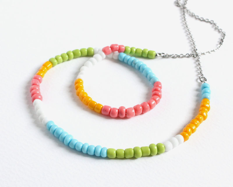 Colorful Small Beads Stainless Steel Necklace in Pastel Colors - product images  of