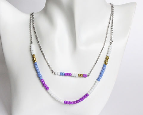 Purple,White,Gold,Double,Layer,Mini,Beads,Stainless,Steel,Necklace,handmade beaded necklace, handmade dainty necklace, mini beads necklace, purple white beaded necklace, double layer necklace, colorful beads necklace, purple white gold necklace, purple beaded necklace