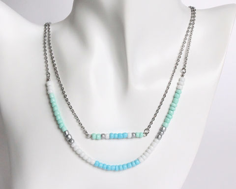 Mint,Blue,White,Silver,Double,Layer,Mini,Beads,Stainless,Steel,Necklace,handmade beaded necklace, mini beads necklace, mint white blue beaded necklace, double layer necklace, colorful beads necklace, blue white green necklace, mint blue white silver beaded necklace