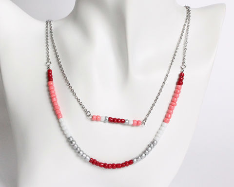 Maroon,Red,Silver,White,Double,Layer,Mini,Beads,Stainless,Steel,Necklace,handmade beaded necklace, mini beads necklace, red white silver beaded necklace, double layer necklace, colorful beads necklace, maroon red white silver necklace, red white coral beaded necklace