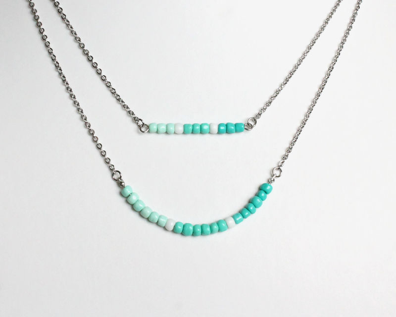 Shades of Turquoise Layer Mini Beads Stainless Steel Necklace - product images  of