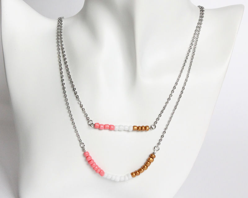 Coral White Bronze Layer Mini Beads Stainless Steel Necklace - product images  of