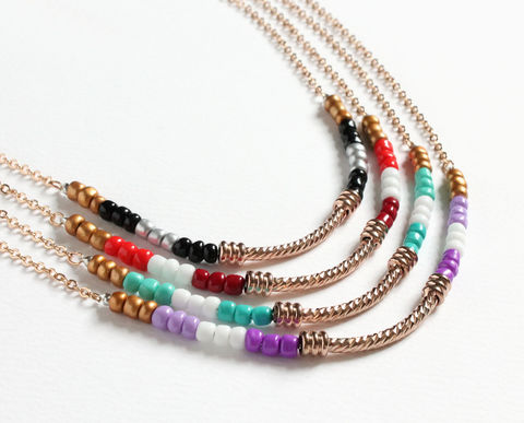 Gold bar with colored mini beads necklace (4 colors) - product images  of
