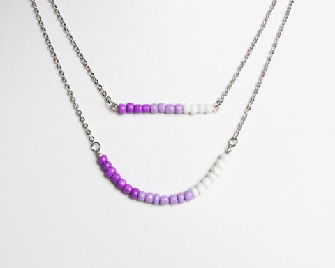 Purple,Lavender,White,Layer,Mini,Beads,Stainless,Steel,Necklace,dainty beads necklace, small beads necklace, mini beads necklace, purple white necklace, dainty purple white necklace, double necklace, purple lavender white beaded necklace, purple white beaded necklace