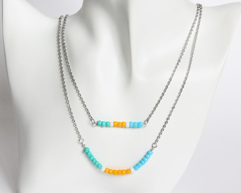 Turquoise Amber Blue Layer Mini Beads Stainless Steel Necklace - product images  of