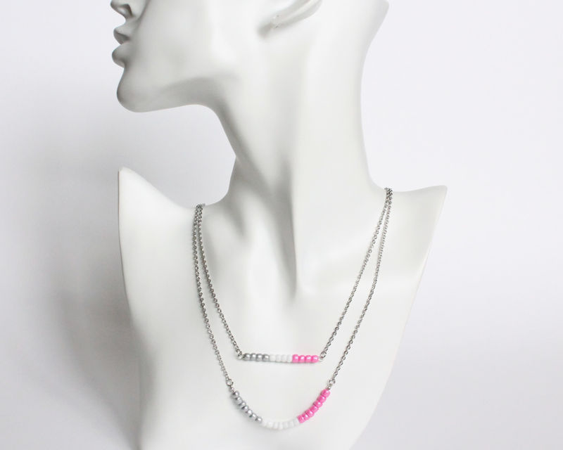 Silver White Pink Layer Mini Beads Stainless Steel Necklace - product images  of