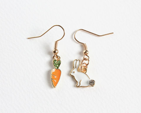 Bunny,and,Carrot,Earrings,bunny and carrot earrings, rabbit and carrot earrings, white bunny carrot earrings, white rabbit carrot earrings, orange carrot earrings, cute rabbit earrings, cute bunny earrings