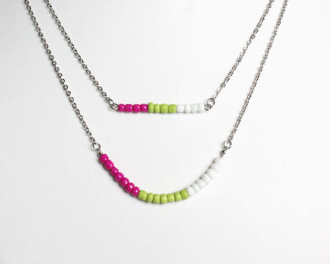 Magenta,Green,White,Layer,Mini,Beads,Stainless,Steel,Necklace,dainty beads necklace, small beads necklace, mini beads necklace, magenta green white necklace, hot pink apple green white necklace, pink green white necklace, green pink white necklace