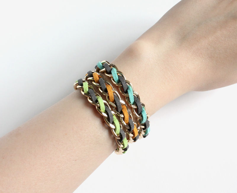 Dark Gray Neon Faux Suede Stacking Bracelet - product images  of