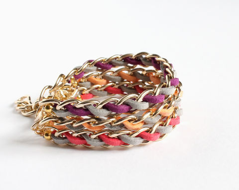 Fruit,Inspired,Faux,Suede,Stacking,Bracelet,color stacking bracelet, purple gray bracelet, gold chain bracelet, colored chain bracelet, peach gray bracelet, coral gray bracelet, pink gray bracelet, plum gray bracelet, fruit color bracelet, thick colored bracelet