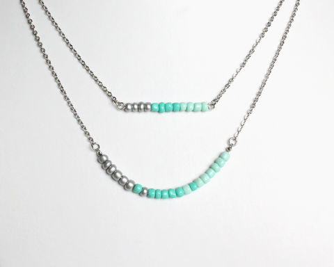 Silver,Turquoise,Mint,Double,Layer,Mini,Beads,Stainless,Steel,Necklace,dainty beads necklace, small beads necklace, mini beads necklace, turquoise silver necklace, turquoise beaded necklace, silver turquoise mint necklace, double layered turquoise necklace