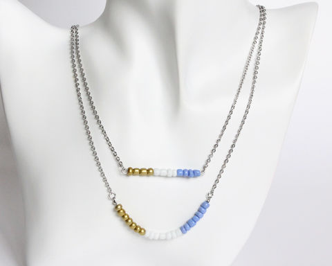 Gold White Violet-Blue Double Layer Mini Beads Stainless Steel Necklace - product images  of