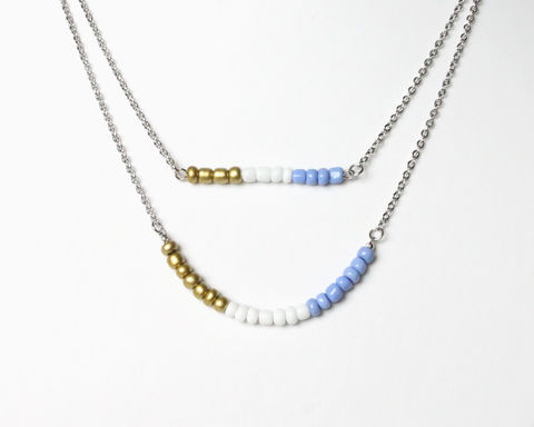 Gold,White,Violet-Blue,Double,Layer,Mini,Beads,Stainless,Steel,Necklace,dainty beads necklace, small beads necklace, mini beads necklace, gold white blue necklace, gold white purple beaded necklace, violet-blue white gold necklace, purple-blue white gold necklace