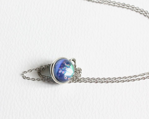 Dichroic,Dainty,Mini,Sphere,Necklace,Dichroic sphere Necklace, dichroic color necklace, color changing necklace, mini sphere necklace, dichroic mini globe necklace, small sphere necklace