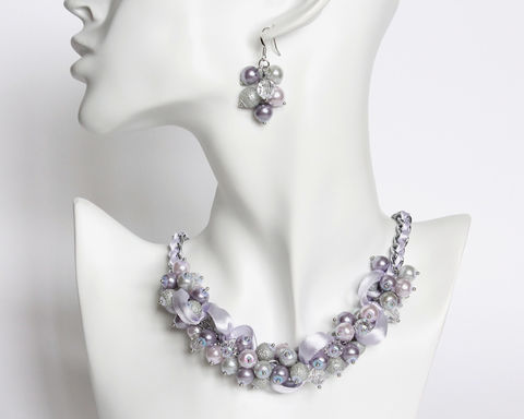 Lilac,and,Light,Gray,Cluster,Necklace,Earrings,Set,lilac pearl cluster necklace, lilac bridesmaid necklace, lilac bridesmaid jewelry set, light purple necklace, light purple bridesmaid necklace earring set, lilac gray necklace, pearl cluster necklace