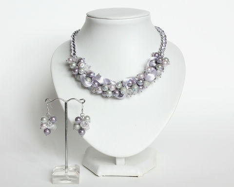 Lilac and Light Gray Cluster Necklace and Earrings Set - product images  of