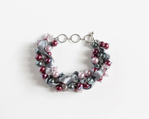 Red-Violet, Mauve and Gray Cluster Bracelet and Earrings Set - product images  of