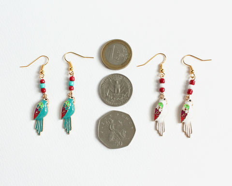 Parrot Earrings (Teal or White) - product images  of