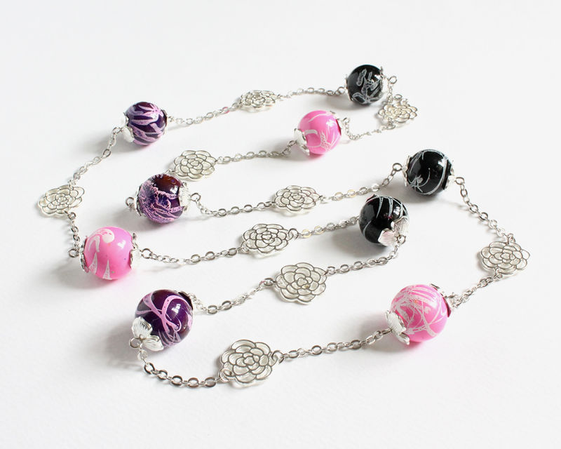 Random Pattern Beads with Silver Roses Long Necklace - product images  of