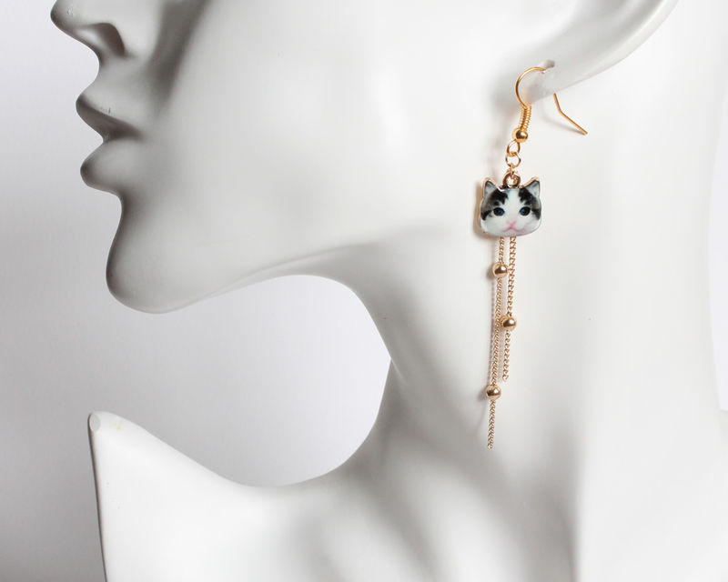 Cat Earrings with Tassel (4 cat color) - product images  of