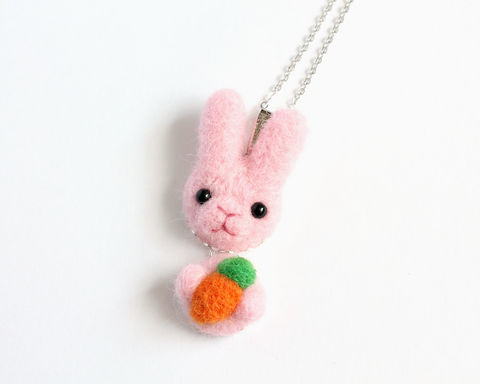 Needle Felted Wool Pink Bunny necklace or brooch or ring or shawl pin (Made to order) - product images  of